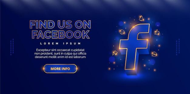 Design promocional elegante para apresentar sua conta do facebook
