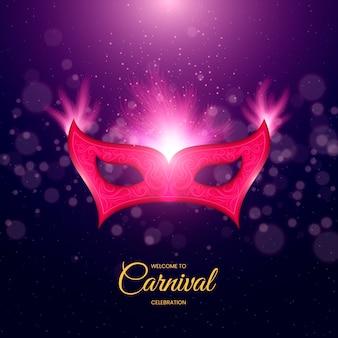 Design realista com máscara rosa e luzes
