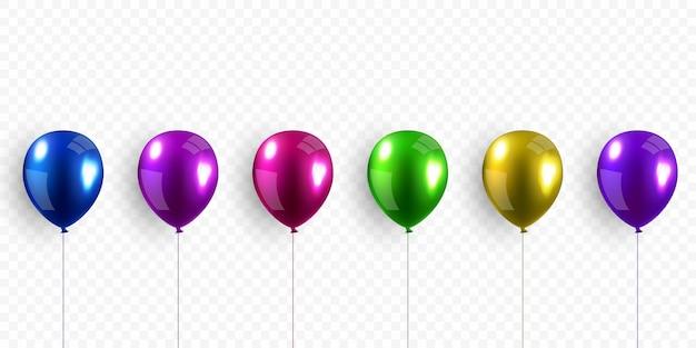 Design realista de balão de hélio 3d existem muitas cores para decorar festivais e celebrações.
