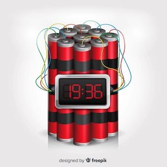 Design realista de bomba-relógio com fundo branco