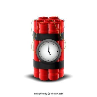 Design realista de bomba-relógio vermelho