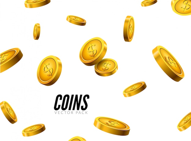 Design realista de ícones de moeda com sombra. conceito de sucesso de tesouro de dinheiro