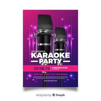 Design realista de modelo de cartaz de karaoke
