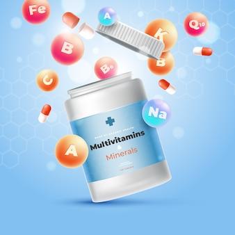 Design realista de pacote complexo de vitaminas