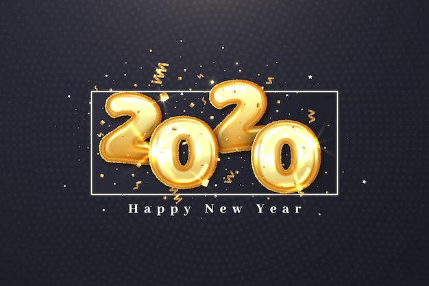 Design realista de papel de parede de balões do ano novo 2020