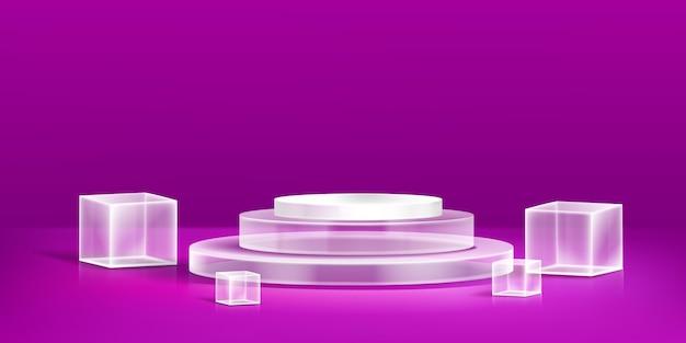 Design realista de pódio de vidro