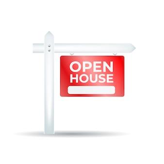 Design realista de sinal de casa aberta