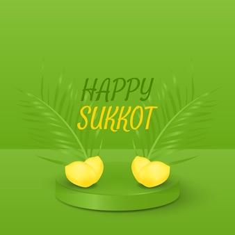Design realista de sukkot feliz com folhas de palmeira e etrog