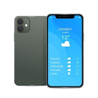 Design realista smartphone preto com duas câmeras