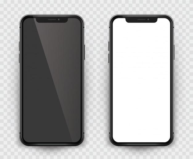 Design realista smartphone preto com tela vazia. smartphone isolado com tela vazia para apresentar seu aplicativo, design ...