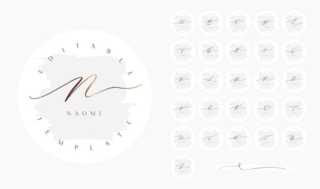 Design redondo minimalista do logotipo cursivo feminino com um estilo elegante