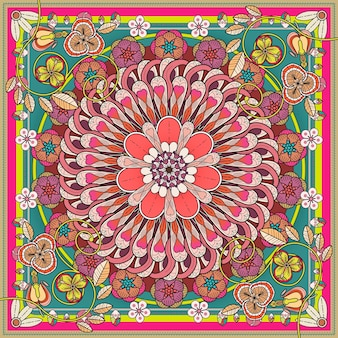 Design requintado de fundo de mandala com elementos florais
