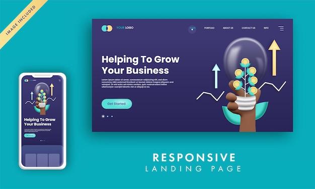 Design responsivo da página de destino com lâmpada 3d de eco financeiro segurando a mão