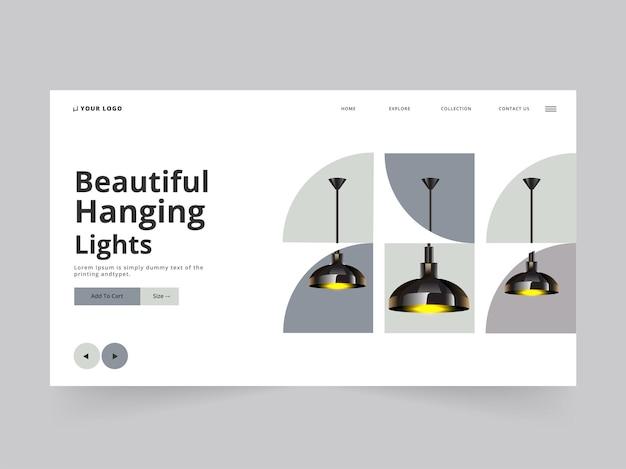 Design responsivo da página de destino com lâmpadas de teto acesas 3d penduradas no fundo branco.