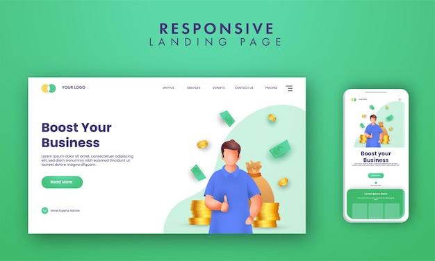 Design responsivo da página de destino com o homem de renderização 3d mostrando o polegar para cima e as moedas