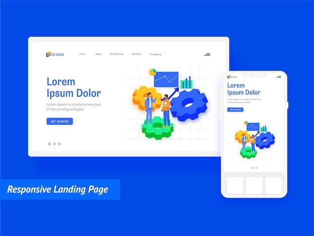 Design responsivo da página de destino com página on-line móvel para análise de negócios.