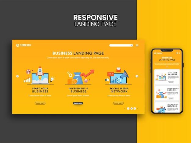 Design responsivo da página inicial com smartphone para o conceito de negócio.