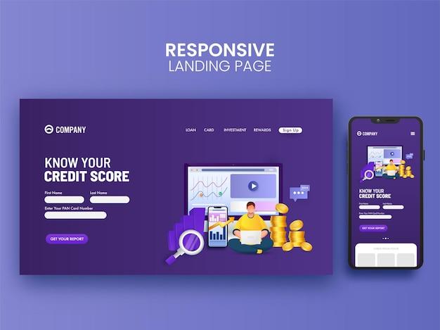 Design responsivo da página inicial para pontuação de crédito com ilustração de smartphone.