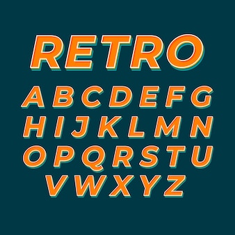 Design retro 3d de alfabeto