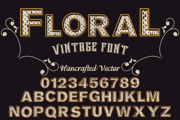 Design retro alfabeto floral