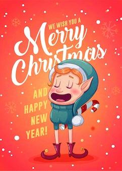 Design retro de cartões de feliz natal. ilustração