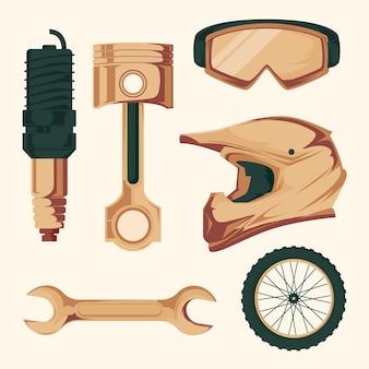 Design retro de elementos de motocross