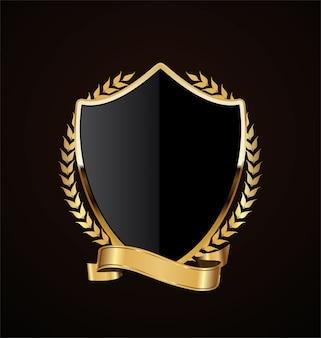 Design retrô de escudo dourado