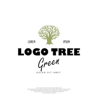 Design retrô de logotipo de árvore