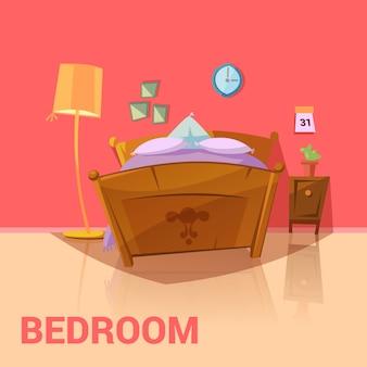 Design retrô de quarto com calendário de imagens de cama e desenhos animados de lâmpada