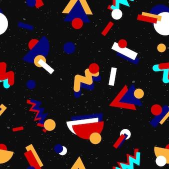 Design retrô sem costura padrão geométrico dos anos 80