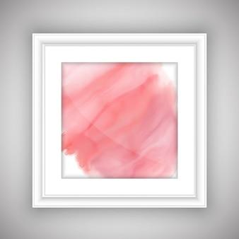Design rosa da aguarela em um quadro de imagem whie