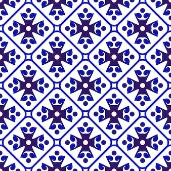 Design sem costura azul e branco