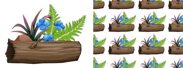 Design sem costura com flores azuis e samambaias