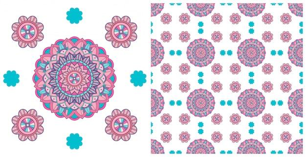 Design sem costura com padrão de mandalas coloridas
