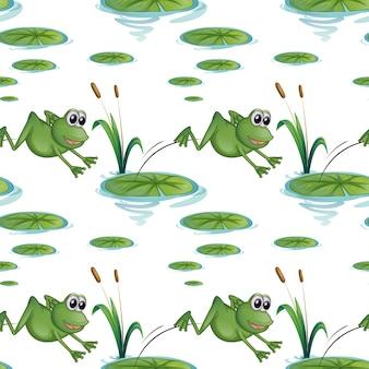 Design sem costura com sapos na lagoa