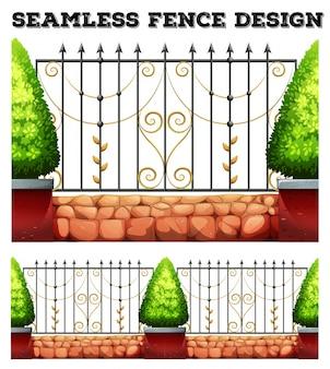 Design sem costura de cerca metálica com arbustos