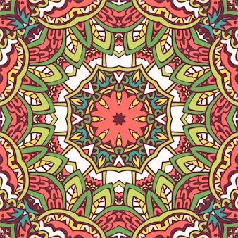 Design sem costura étnico tribal indiano. padrão de mandala colorido festivo. Vetor Premium