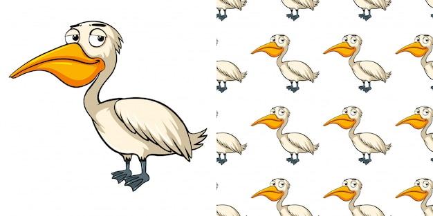 Design sem costura padrão com pelicano com sono