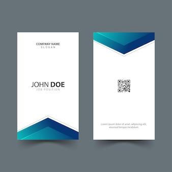 Design simples de cartão de identificação vertical com formas gradientes azuis