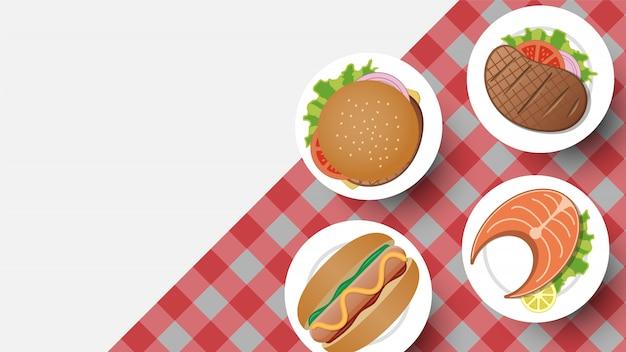 Design simples de comida tradicional com cópia-espaço para texto, ilustração vetorial