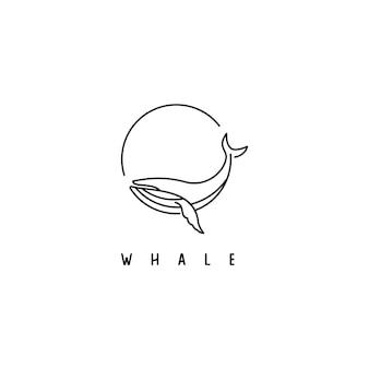 Design simples de logotipo de baleia