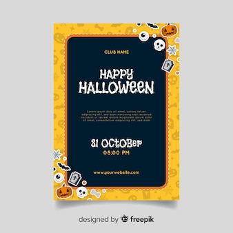 Design simplista para panfleto de festa de halloween