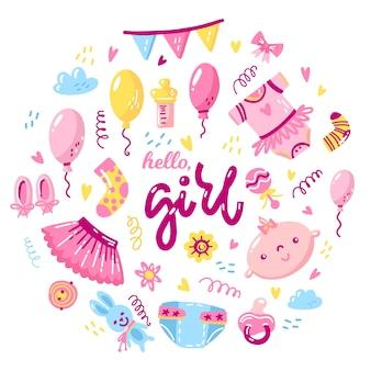 Design temático de chá de bebê para menina