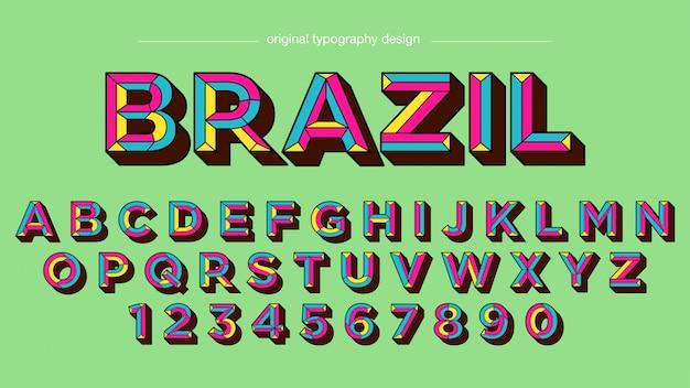 Design tipografia retrô negrito colorido
