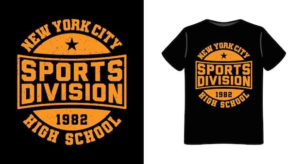 Design tipográfico da divisão de esportes