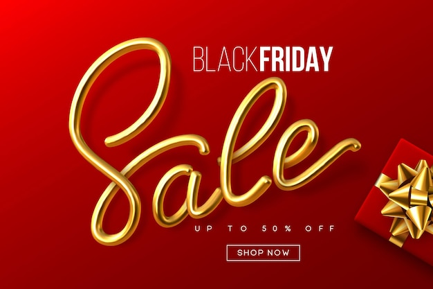 Design tipográfico de black friday. venda de sinal de caligrafia metálica manuscrita com caixa de presente. modelo de banner de venda. fundo vermelho. vetor.
