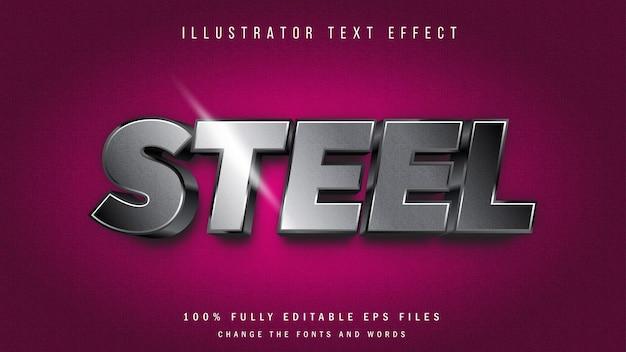 Design tipográfico de efeito de texto 3d de aço
