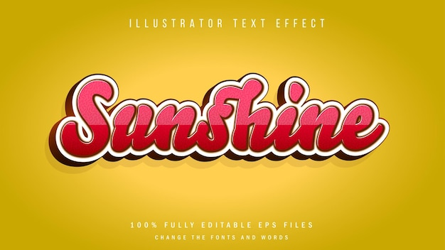 Design tipográfico de efeito de texto sunshine 3d