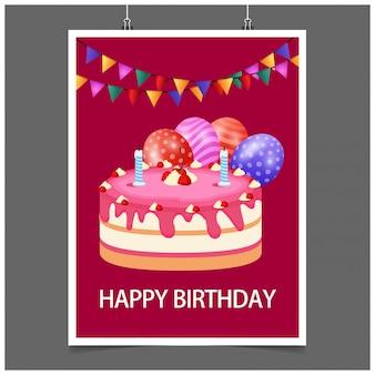 Design tipográfico de feliz aniversário com fundo vermelho