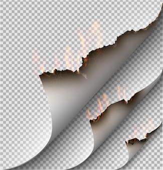 Design transparente queimando modelos de papel rasgado com fogo